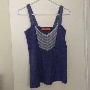 Never worn Cynthia Steffe blue tank top w lace